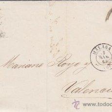 Sellos: MALAGA RUEDA DE CARRETA MATASELLOS EN ENVUELTA CIRCULADA 1863 A VALENCIA. MATASELLOS LLEGADA. MPM.. Lote 16233745