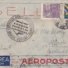 Francobolli: ZEPPELIN: SERVICIO AEREO TRANSOCEANICO BRASIL-EUROPA CONDOR ZEPPELIN LUFTHANSA EN CARTA 1934.LLEGADA. Lote 22752591