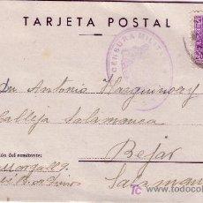 Sellos: TARJETA POSTAL-EDIFIL 855. BEJAR-SALAMANCA-MATASELLO CENSURA MILITAR. Lote 26279178