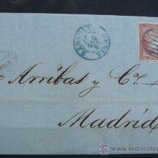 Sellos: ESPAÑA CARTA POSTAL CIRCULADA DE DENIA (ALICANTE) A MADRID CON MATASELLOS DE COLOR AZUL. RARA. Lote 26251896