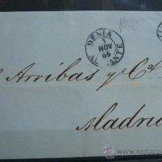 Sellos: ESPAÑA (1855) CARTA CIRCULADA DE DENIA (ALICANTE) A MADRID CON MATASELLOS DE COLOR AZUL. RARA. Lote 26447147