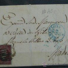 Sellos: ESPAÑA (1857) CARTA POSTAL CIRCULADA DE BARCELONA A MADRID CON MATASELLOS AZUL Y NEGRO. Lote 26277208