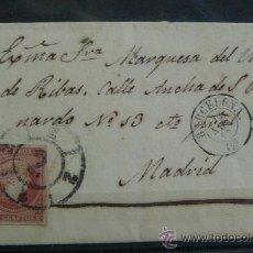 Sellos: ESPAÑA (CAT. 40) CARTA CIRCULADA DE LA MARQUESA DEL VALLE DE RIBAS BARCELONA A MADRID. Lote 26475555