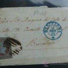 Sellos: ESPAÑA (CAT. 40) CARTA CIRCULADA DE LA MARQUESA DEL VALLE DE RIBAS EN BARCELONA MATASELLOS AZUL Y N. Lote 26475554