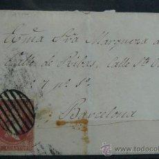 Sellos: ESPAÑA (CAT. 40) CARTA CIRCULADA DE LA MARQUESA DEL VALLE DE RIBAS EN BARCELONA. Lote 26594002