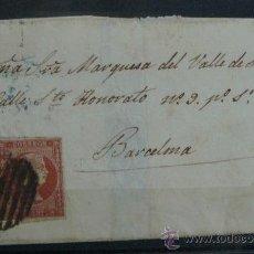Sellos: ESPAÑA (CAT. 40) CARTA CIRCULADA DE LA MARQUESA DEL VALLE DE RIBAS EN BARCELONA. Lote 26594003