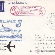 Sellos: RARA CARTA CIRCULADA POR BARCO 1977 ALEMANIA-ESPAÑA VIA PRIMER VUELO AIRBUS A300 FRANKFURT-BARCELONA. Lote 21984028