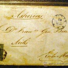 Sellos: CUBA (1856) CARTA HABANA A AVILÉS (ASTURIAS) REVERSO MATASELLOS PREFILATELIA AVILÉS . MUY RARA. Lote 26251905