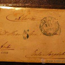 Sellos: CUBA (1854) CARTA HABANA A AVILÉS (ASTURIAS). MUY RARA. Lote 26277206