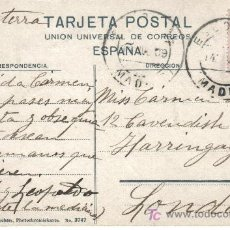 Sellos - ESCORIAL MADRID POSTAL A INGLATERRA 1909 CADETE ALFONSO XIII IMAGEN INTERIOR DEL MONASTERIO - 17320497
