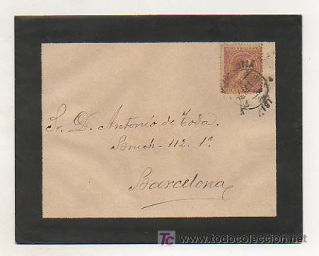 SOBRE CIRCULADO EN 1899 CON SELLO PELÓN 10 CÉNTIMOS. (Sellos - Historia Postal - Sello Español - Sobres Circulados)