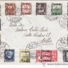 Sellos: CARTA CIRCULADA 1936 (ERROR MATASELLOS: 1926) DE LA LINEA (CADIZ) A SEVILLA CON 15 PATRIOTICOS. C.M.. Lote 26780532