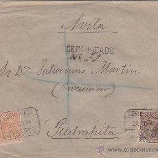 Sellos: ALFONSO XIII PELON 75 CTS. EN CARTA 1894 CORREO CERTIFICADO DE MADRID A PIEDRAHITA (AVILA). LLEGADA.. Lote 26780538