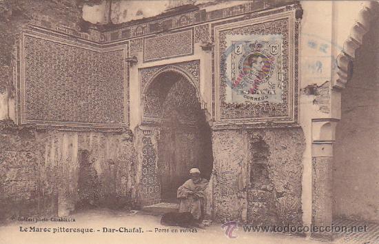MARRUECOS ESPAÑOL: BONITA TARJETA CIRCULADA 1912 A FRANCIA. MARCA OVALADA COMO MATASELLOS. RARA ASI. (Sellos - Historia Postal - Sello Español - Sobres Circulados)