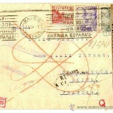 Sellos: SOBRE DIRIGIDO A PARÍS - ADHESIVO DE LA DIRECCIÓN GENERAL DE SEGURIDAD - SELLO NAZI - AÑO 1940 -. Lote 18208032