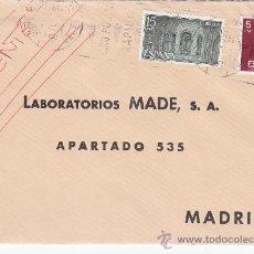 Sellos: CORREO URGENTE: CARTA COMERCIAL (LABORATORIOS MADE) CIRCULADA DE VALENCIA A MADRID. LLEGADA. MPM.. Lote 18214522