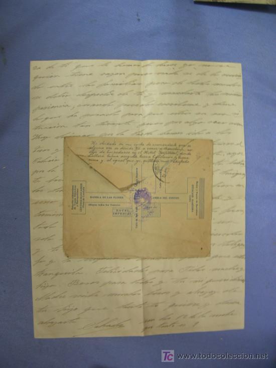 Sellos: carta circulada publicidad hotel imperial.- barcelona con censura militar barcelona - Foto 2 - 27150464