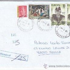 Sellos: NAVIDAD 1972 FRANQUEO MIXTO ESPAÑA-ANDORRA ESPAÑOLA CARTA CERTIFICADA ESCALDES ENGORDANY-SEVILLA MPM. Lote 18597494