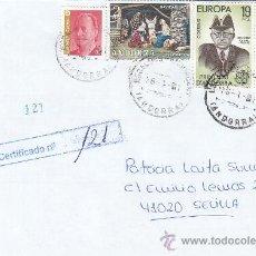 Sellos: NAVIDAD 1972 FRANQUEO MIXTO ESPAÑA-ANDORRA ESPAÑOLA CARTA CERTIFICADA ESCALDES ENGORDANY-SEVILLA MPM. Lote 18613347