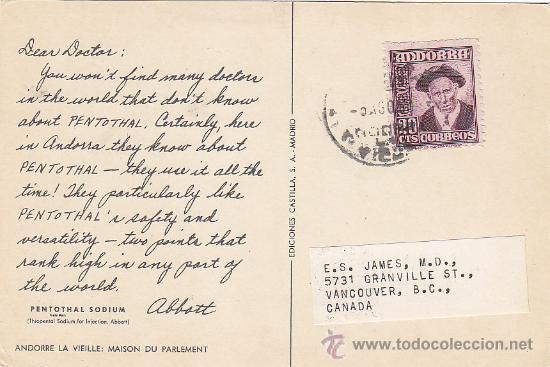 ANDORRA ESPAÑOLA: TARJETA COMERCIAL (PENTOTHAL) CIRCULADA DE ANDORRA LA VIEJA A VANCOUVER (CANADA). (Sellos - Historia Postal - Sello Español - Sobres Circulados)