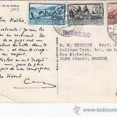 Sellos: COLONIA RIO DE ORO: PRECIOSA TARJETA COMERCIAL CIRCULADA 1953 DE VILLACISNEROS A FRANCIA. RARA.. Lote 27056866