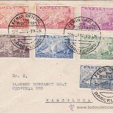 Sellos: SERIE COMPLETA DE LA CIERVA (EXCEPTO EL 10 PTS.) EN CARTA CIRCULADA 1948 CON MATASELLOS FERIA. RARA.. Lote 23447152