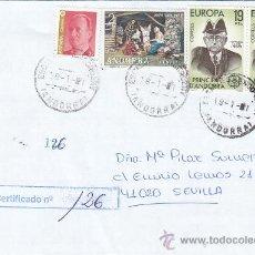 Sellos: NAVIDAD 1972 FRANQUEO MIXTO ESPAÑA-ANDORRA ESPAÑOLA CARTA CERTIFICADA ESCALDES ENGORDANY-SEVILLA MPM. Lote 18631356