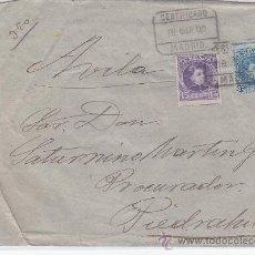 Sellos: CARTA CERTIFICADA 1909 DE MADRID A PIEDRAHITA (AVILA). FRANQUEO ALFONSO XIII CADETE LLEGADA AL DORSO. Lote 23492620