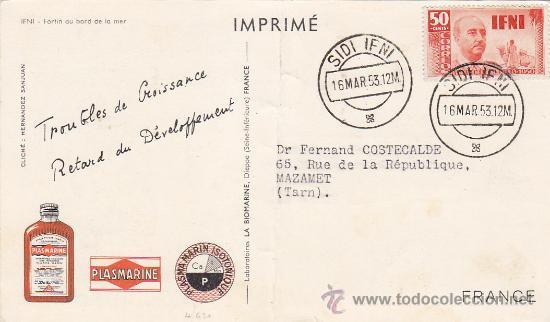 GENERAL FRANCO IFNI EN TARJETA COMERCIAL CIRCULADA 1953 DE SIDI IFNI A MAZAMET (FRANCIA). RARA ASI. (Sellos - Historia Postal - Sello Español - Sobres Circulados)