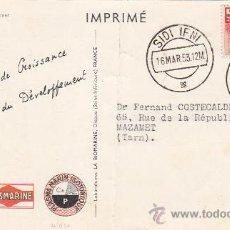 Sellos: GENERAL FRANCO IFNI EN TARJETA COMERCIAL CIRCULADA 1953 DE SIDI IFNI A MAZAMET (FRANCIA). RARA ASI.. Lote 22169433