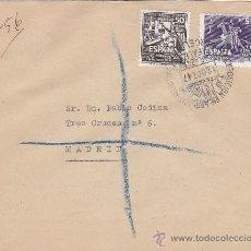 Sellos: DON QUIJOTE CERVANTES 1947 (EDIFIL 1012-1014) CARTA CORREO AEREO CERTIFICADO BARCELONA-MADRID. RARA.. Lote 18649390