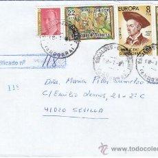 Sellos: NAVIDAD 1980 FRANQUEO MIXTO ESPAÑA-ANDORRA ESPAÑOLA CARTA CERTIFICADA ESCALDES ENGORDANY-SEVILLA MPM. Lote 18691407