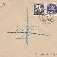 Sellos: DON QUIJOTE CERVANTES 1947 (EDIFIL 1012-1014) CARTA CORREO AEREO CERTIFICADO BARCELONA-MADRID. RARA.. Lote 18710226
