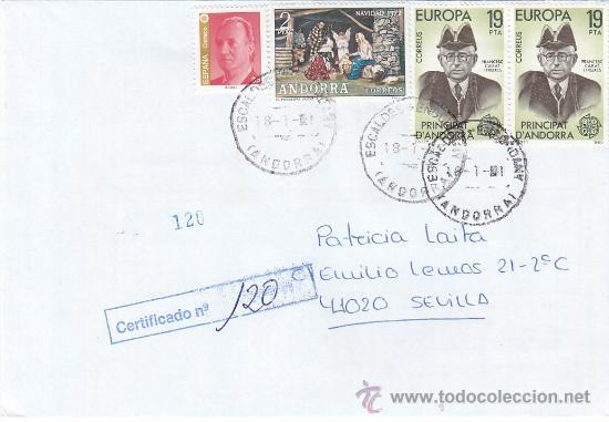 FRANQUEO MIXTO ESPAÑA-ANDORRA ESPAÑOLA NAVIDAD 1972 CARTA CERTIFICADA ESCALDES ENGORDANY-SEVILLA MPM (Sellos - Historia Postal - Sello Español - Sobres Circulados)