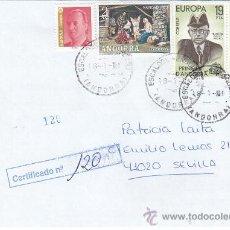 Sellos: FRANQUEO MIXTO ESPAÑA-ANDORRA ESPAÑOLA NAVIDAD 1972 CARTA CERTIFICADA ESCALDES ENGORDANY-SEVILLA MPM. Lote 18710236