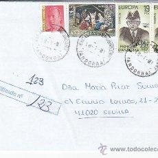 Sellos: FRANQUEO MIXTO ESPAÑA-ANDORRA ESPAÑOLA NAVIDAD 1972 CARTA CERTIFICADA ESCALDES ENGORDANY-SEVILLA MPM. Lote 18746568