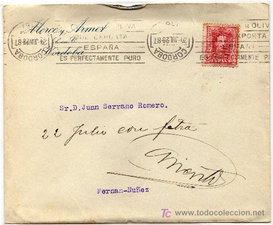 RARO MATASELLO DE RODILLO PUBLICITARIO (SOBRE CARTA) - EL ACEITE DE OLIVA QUE .. CORDOBA - 24-JUL-29 (Sellos - Historia Postal - Sello Español - Sobres Circulados)