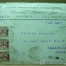 Sellos: CARTA CIRCULADA 1948, SELLO GOLFO GUINEA ESPAÑOLA, SANTA ISABEL A VALENCIA, CORREO AEREO. Lote 19292503