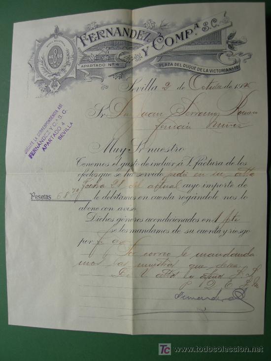 Sellos: carta circulada 1926 con factura y recibo almacen de tejidos Fernandez y Cia. S. C. de Sevilla - Foto 3 - 25060878
