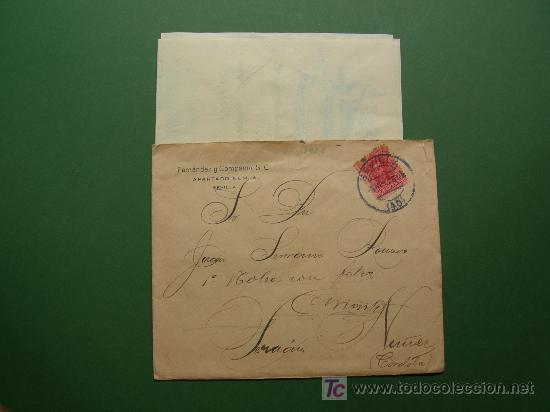 Sellos: carta circulada 1926 con factura y recibo almacen de tejidos Fernandez y Cia. S. C. de Sevilla - Foto 4 - 25060878
