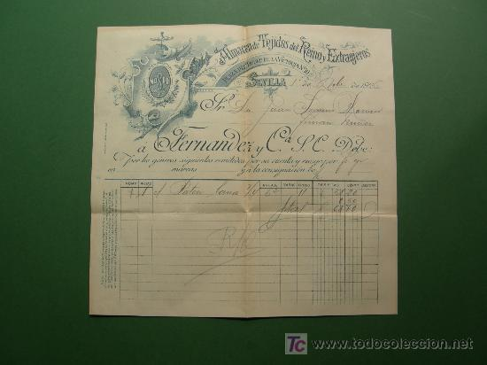 Sellos: carta circulada 1926 con factura y recibo almacen de tejidos Fernandez y Cia. S. C. de Sevilla - Foto 2 - 25060878
