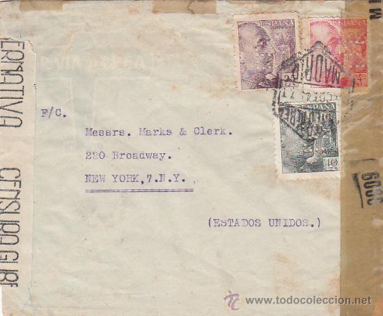 GENERAL FRANCO TRICOLOR PERFORADOS ELZABURU EN CARTA 1941 MADRID A NUEVA YORK DOBLE CENSURA. RARA. (Sellos - Historia Postal - Sello Español - Sobres Circulados)
