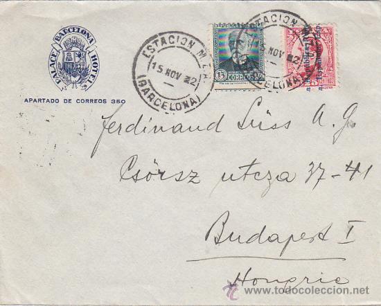 ESTACION M.Z.A: RARO MATASELLOS EN CARTA CIRCULADA 1932 DE BARCELONA A BUDAPEST (HUNGRIA). LLEGADA. (Sellos - Historia Postal - Sello Español - Sobres Circulados)