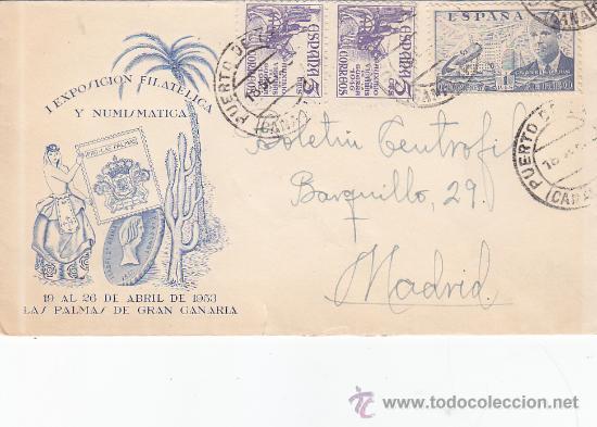 CARTA ILUSTRADA CIRCULADA PUERTO DE LA LUZ (CANARIAS)-MADRID. FRANQUEO EL CID Y DE LA CIERVA. MPM. (Sellos - Historia Postal - Sello Español - Sobres Circulados)