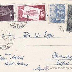 Sellos: FORTUNY (EDIFIL 1164) Y GENERAL FRANCO DOS EMISIONES EN TARJETA CIRCULADA 1957 DE MADRID A ALEMANIA . Lote 23952310