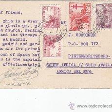 Sellos: PRO TUBERCULOSOS 1946 25 CTS CORREO AEREO Y EL CID TARJETA CIRCULADA 1946 MADRID-SUDAFRICA. MUY RARA. Lote 24504455
