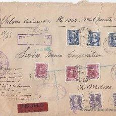 Sellos: VALORES DECLARADOS RARA CARTA 1939 FRANQUEO FERNANDO E ISABEL LA CORUÑA-LONDRES. CENSURA. LLEGADA. Lote 25186139