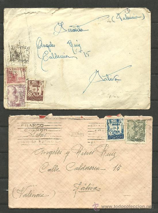 C8- 2 SOBRES CIRCULADOS CON SELLO DEL AYUNTAMIENTO DE BARCELONA (Sellos - Historia Postal - Sello Español - Sobres Circulados)