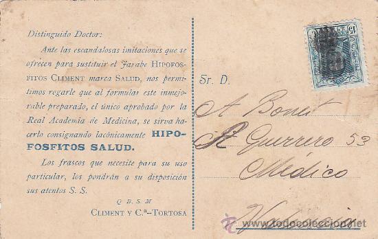 INUSUAL MATASELLOS EN TARJETA POSTAL DE GRANADA HIPOFOSFITOS CLIMENT CIRCULADA A VALENCIA. RARA. (Sellos - Historia Postal - Sello Español - Sobres Circulados)