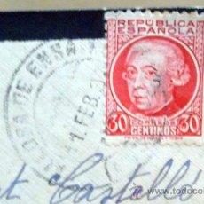 Sellos: SOBRE, CIRCULADO, DE LUTO, REPUBLICA, VALENCIA 12 FEBRERO 1937, SIN REMITE, 8 X 12 CM. Lote 24995630